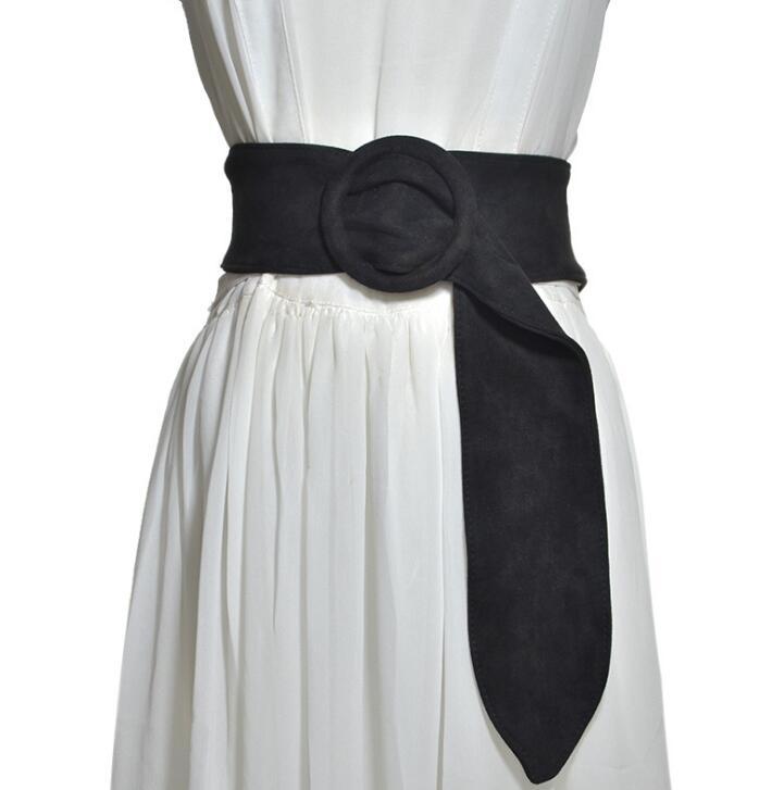 Women's Runway Fashion Suede Leather Cummerbunds Female Dress Corsets Waistband Belts Decoration Wide Long Belt R1388
