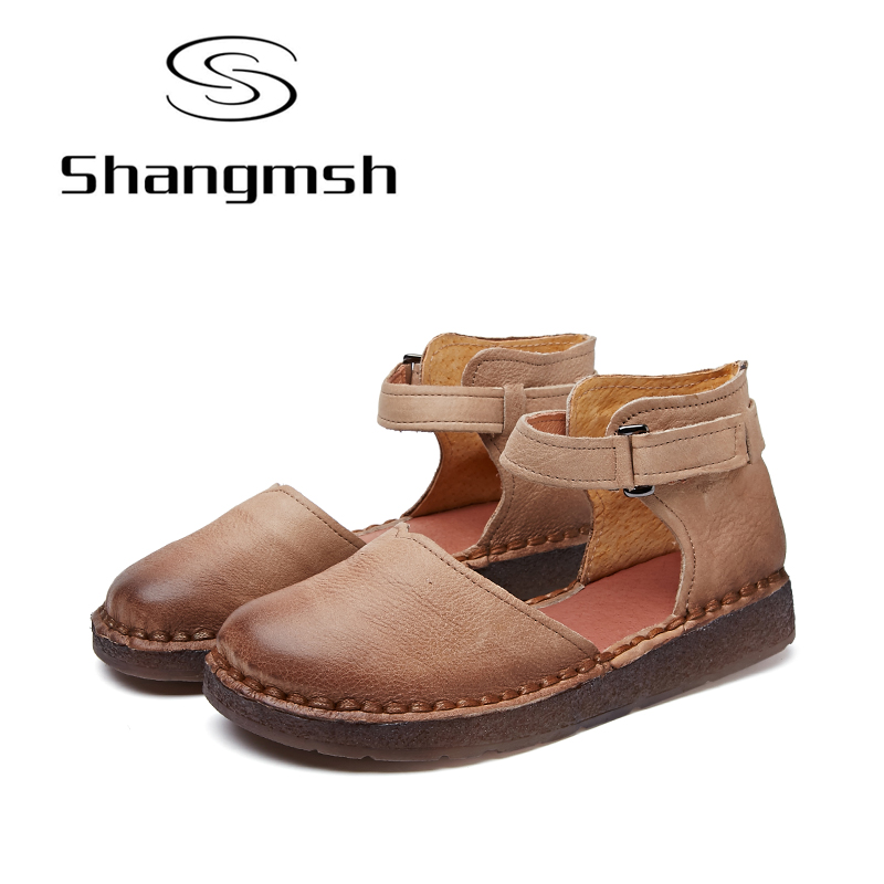 Shangmsh Fashion Women's Handmade Shoes Genuine Leather Flat Mother Shoes Woman Loafers Soft Comfortable Casual Shoes women flat fashion brand genuine leather shoes for women casual mother loafers soft and comfortable oxfords lace up non slip flat moccasins