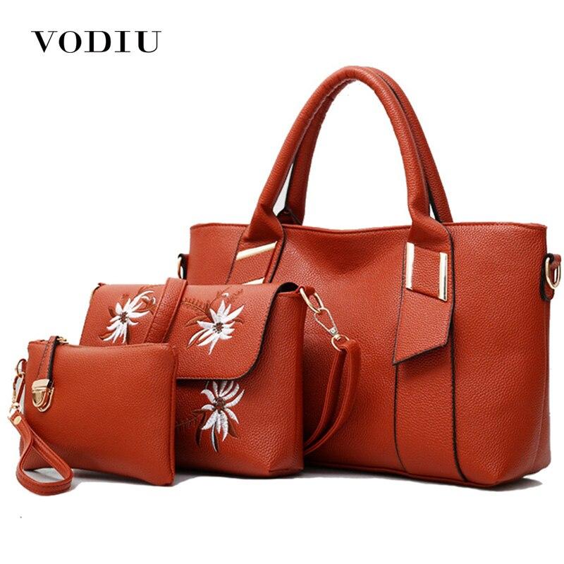 Женская сумка, женские сумки, 3 шт., кожаная сумка через плечо, сумка через плечо, 2018, вышивка, красная, высокое качество, для девушек, сумка тоут, набор, сумки
