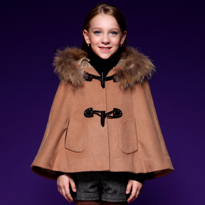 Fashion outerwear for girls special design coat winter cloak thick coats full Sleeve horn button hooded