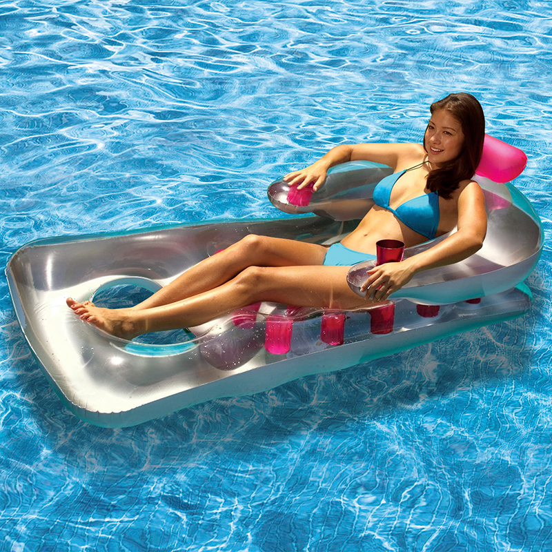 Summer Water Floating Row Inflatable Air Mattresses With 18 Cup Holders Swimming Pool Lounger Float Relax Floating Chair Air Bed