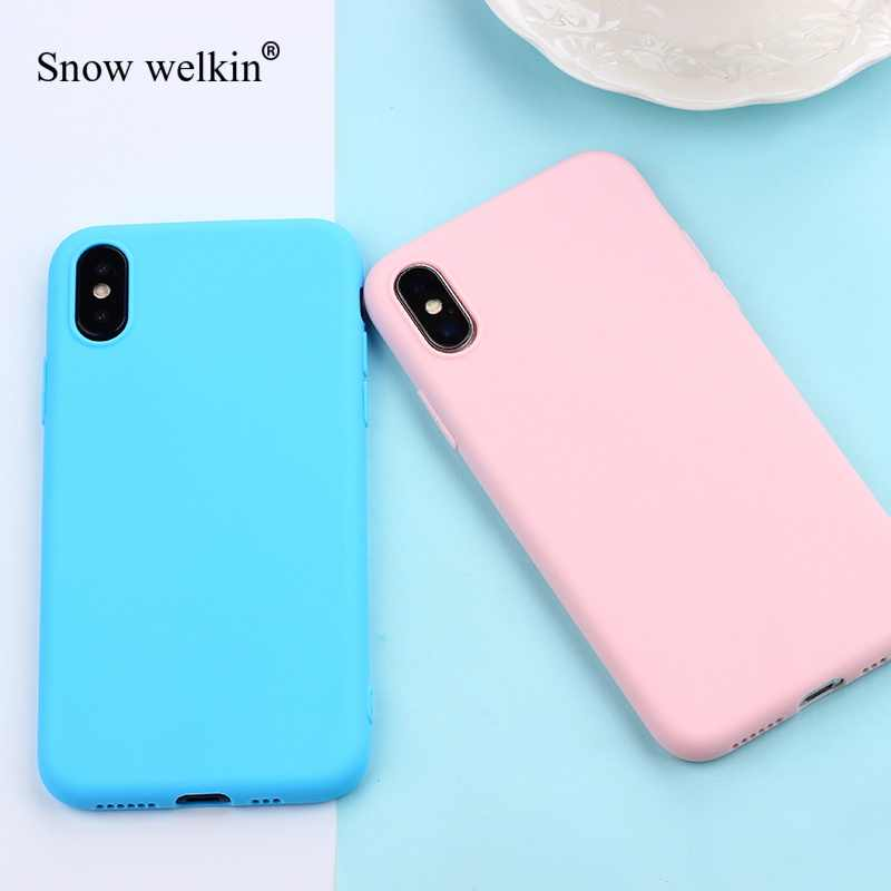 Candy Color Phone Case For iPhone 7 Case 6 6s 8 Plus 5 5s SE Solid Color Soft Matte TPU Back Cover For iPhone X Case XR XS MAX