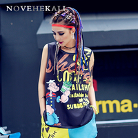 2017 Summer Personality New Women Vest Europe Trend Street Graffiti Clothing Tank Top T Youthful Design