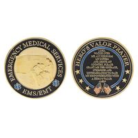 Gold Plated Emergency Medical Services Commemorative Coin Souvenir Challenge Collectible Coins Collection Art Craft Gift New