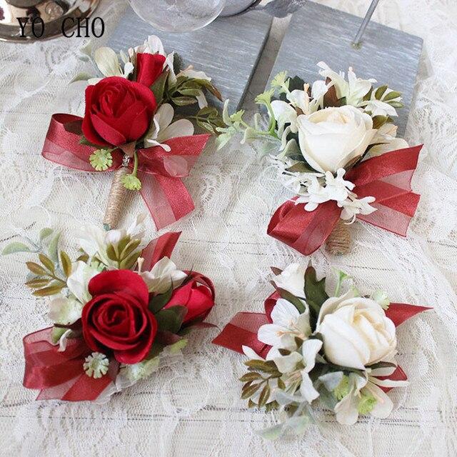 Yo Cho Red Wrist Corsage Bracelet Boutonniere Mariage White Silk