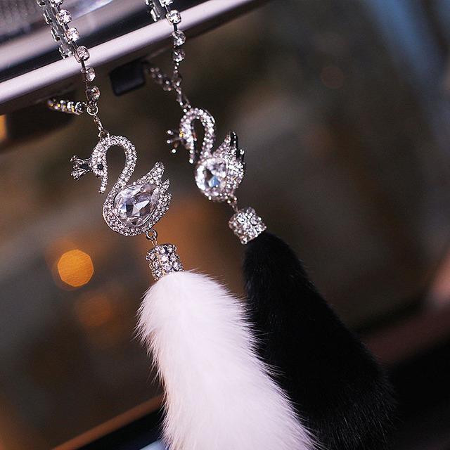 Swan fox fur car pendant car interior accessories car pendant rearview mirror hanging personality creative girl car pendant art