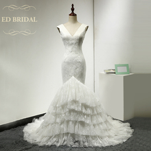 Sexy Backless Lace Mermaid Wedding Dresses V Neck Layered Open Back China Bridal Gowns vestidos de noiva robe de mariee