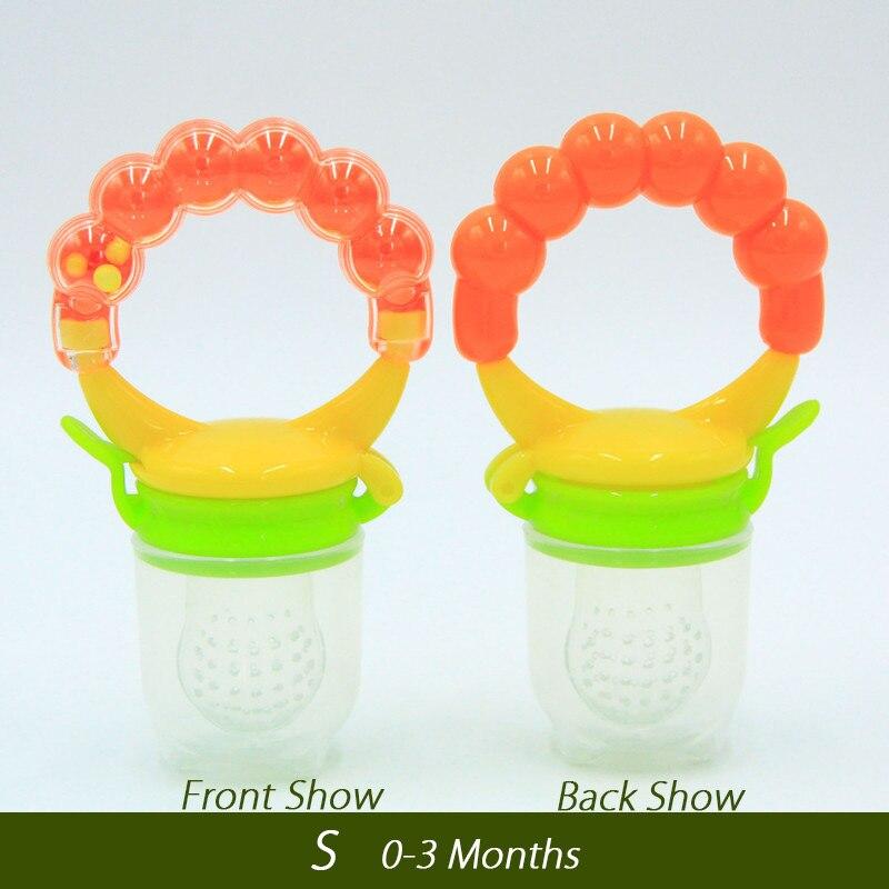 1 шт. свежий Ниблер для кормления ребенка соска для кормления дети фрукты Фидер соски Кормление безопасные детские принадлежности сосок соска бутылки - Цвет: Orange S