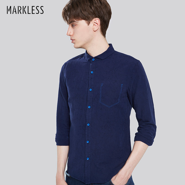 Markless 2017 Man Shirts Linen Casual Style New Men Long Sleeve ...