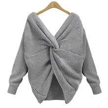 Danjeaner Pull à manches longues pour femmes, Pull over torsadé col en V, 4 couleurs, 2018, tricoté