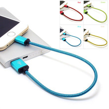 30cm/1Ft Braided Aluminum Micro USB Data/Sync Charger Cable For Android IOS Phone iPhone