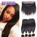 Silk Base Closure With Bundles Straight 4 Bundles With Silk Base Closure 7a Brazilian Virgin Hair With Frontal Closure Bundle