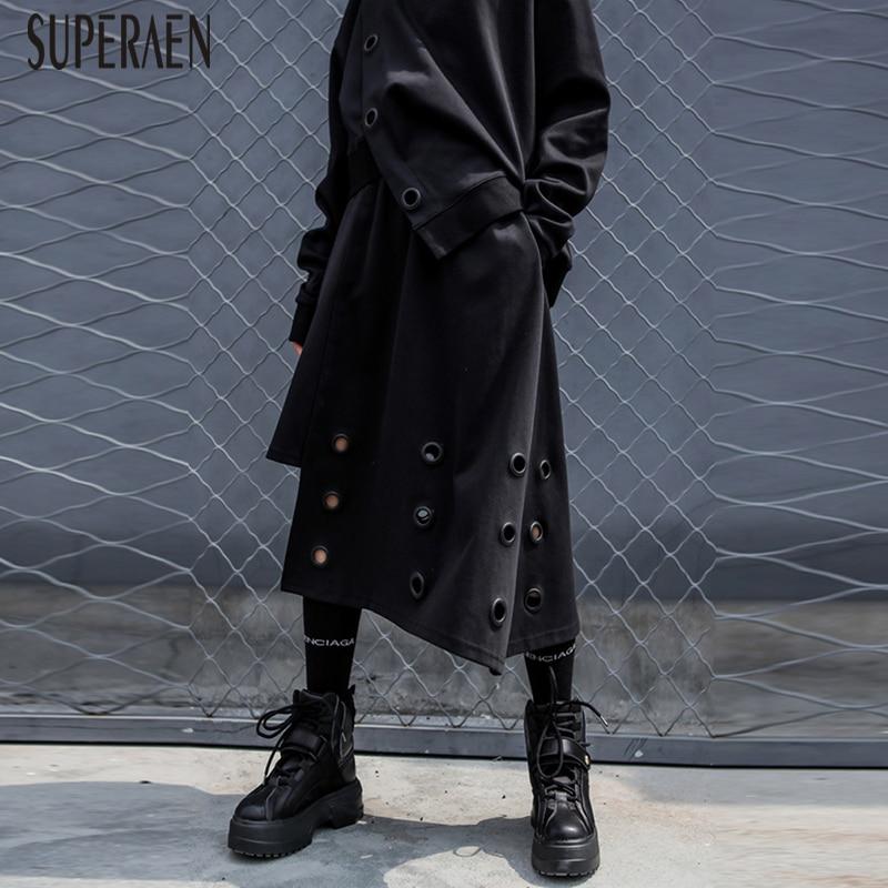 Mujer Color Otoño Black Faldas Suelta Cintura Moda Nuevo Señoras Elástico Mujeres 2018 Salvaje Sólido Superaen Europa UqPw66