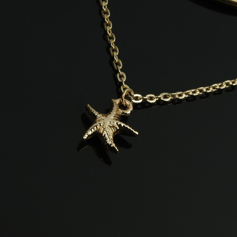 Newest Design Simple Gold Plated Multilayer Metal Chain Starfish ...