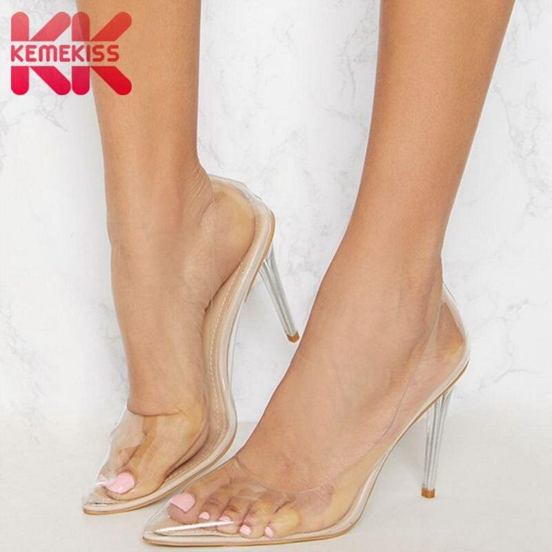 KemeKiss Femmes Pompes Nouvelle Mode Transparent Chaussures À Talons Hauts de Femmes Sexy Mince Talons Bout Pointu Défilé Chaussures Taille 35-43