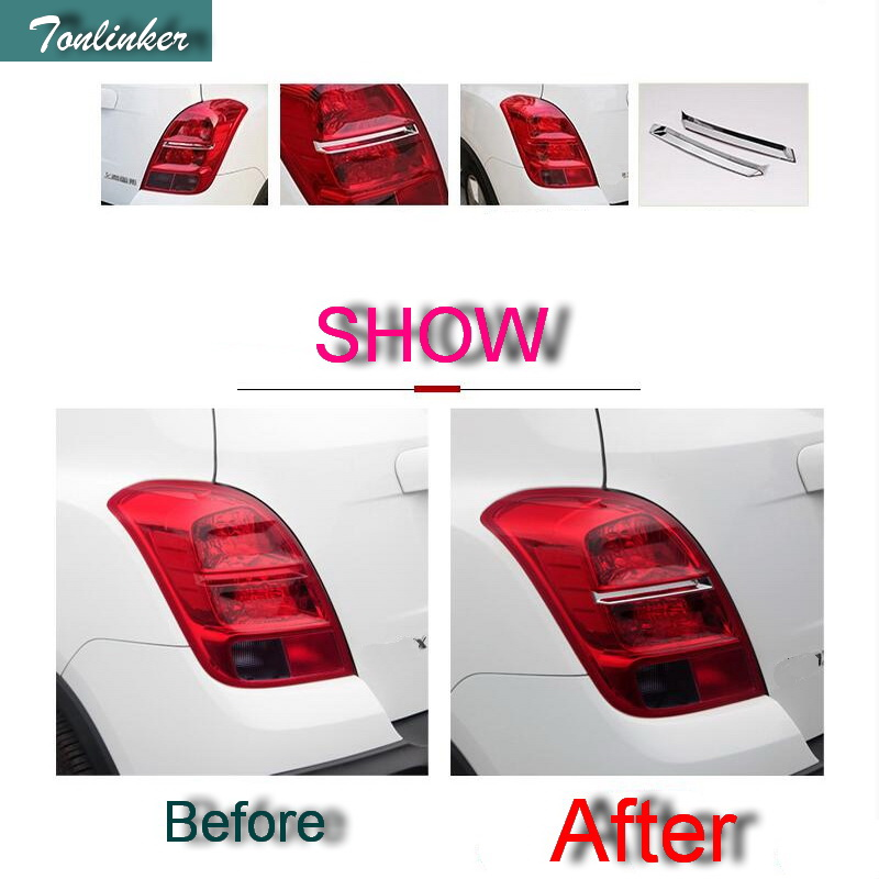 Tonlinker 2 PCS Car styling ABS Chrome the rear headlight light strip cover case Sticker ...