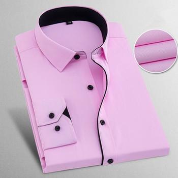 Nowy 2019 wiosna jesień stałe Plus rozmiar 8XL Slim Fit bawełna mężczyźni ubranie koszule z długim rękawem mężczyzna koszula na co dzień koszule na przyjęcia towarzyskie tanie i dobre opinie spandex Włókno poliestrowe COTTON Pełna Skręcić w dół kołnierz Pojedyncze piersi REGULAR Suknem Smart Casual summer mens Long sleeve shirts
