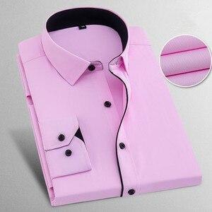 Image 1 - İlkbahar sonbahar artı boyutu 8XL katı erkek iş gömlek uzun kollu Casual Slim Fit pamuk erkek beyaz çizgili sosyal elbise gömlek adam