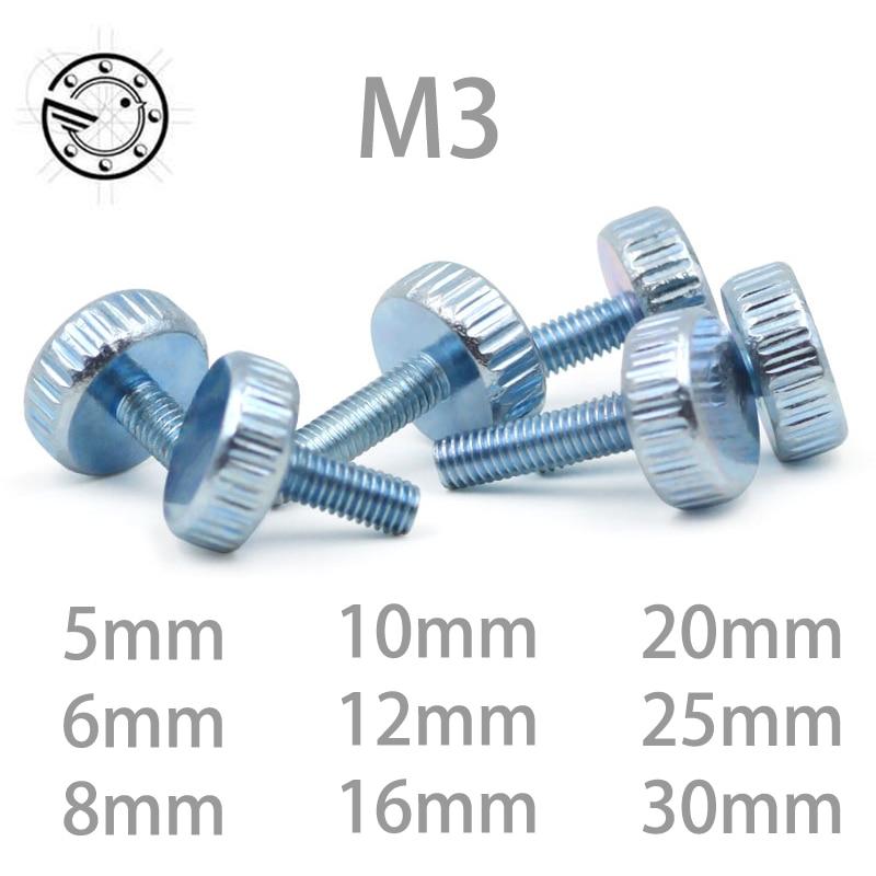 10Pcs DIN653 GB835 M3*(5/6/8/10/12/16/20/25/30)mm Knurling Flat Head Knurled Thumb Screw Hand Tighten Computer Screws 20pcs m3 6 m3 x 6mm aluminum anodized hex socket button head screw