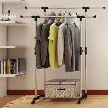 Double Folding Metal Coat Rack Clothes Rail Hanging Garment Dress Coat Storage Shelf With Wheels Simple Shoe Rack Home Furniture
