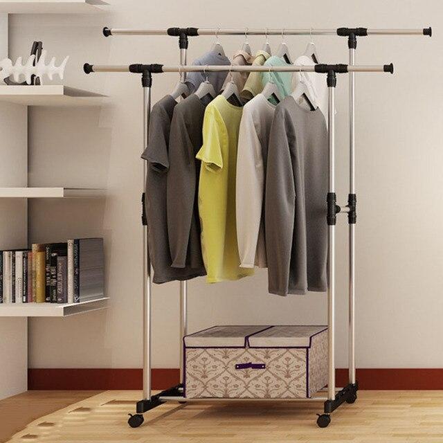 Double Folding Metal Coat Rack Clothes Rail Hanging Garment Dress Storage Shelf With Wheels Simple Shoe Home Furniture