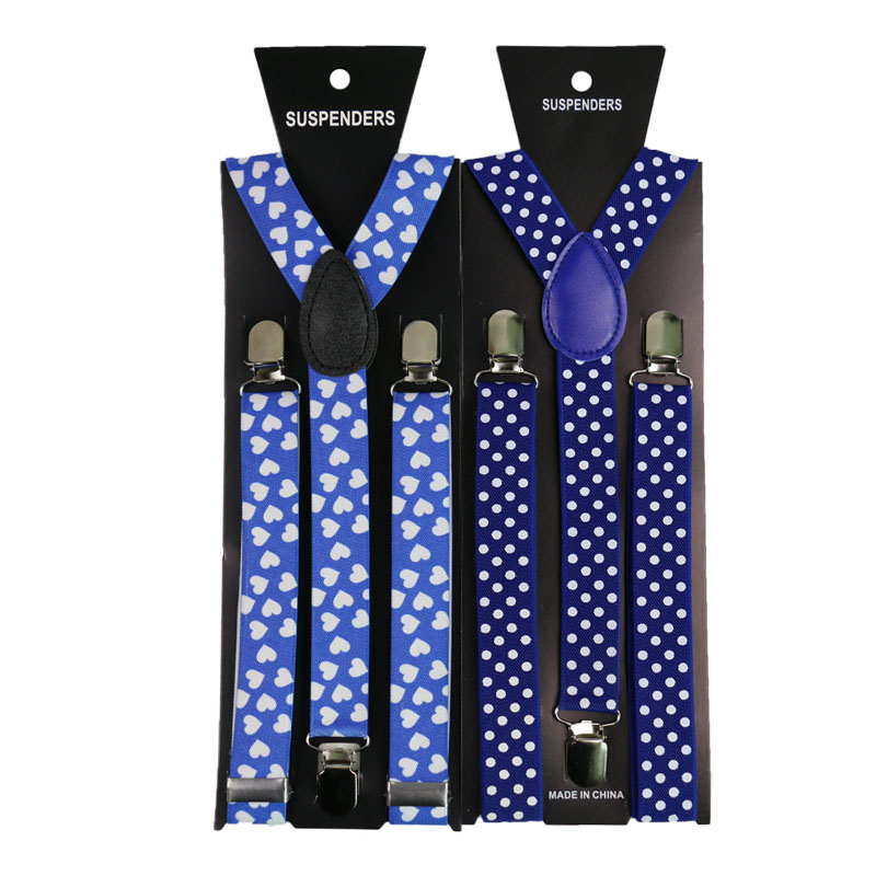 Fashion White Dot White Peach Heart Blue Adult Suspenders Elastic Adjustable Y-Back Braces Clothing Accessories 3 Clip Suspende
