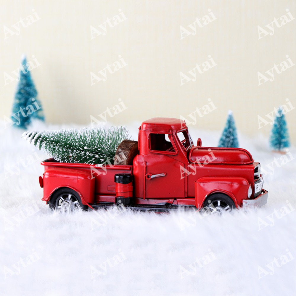aytai cute little metal christmas red truck vintage red truck christmas tree decor handcrafted kid gift table top decor for home in pendant drop ornaments