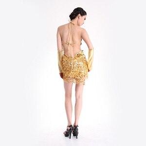 Image 2 - Женское платье для латиноамериканских танцев, юбка с бахромой и блестками, профессиональный костюм для латиноамериканских танцев