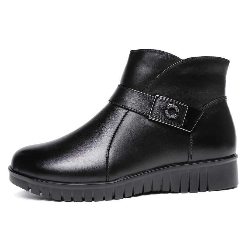 Xiuteng Yeni 2019 kadın çizmeler kadın deri kış botları sıcak peluş sonbahar çizmeler kış Düz ayakkabı ile kadın yarım çizmeler