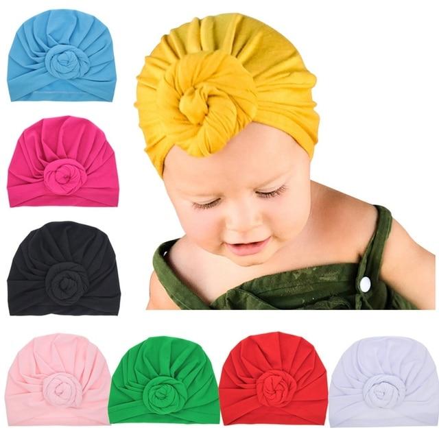 12 Colors Baby Headband Beanie Cap Solid Rose Knot Turban Headbands For Girls Winter Warm Hear Warp Cotton Soft Elastic Headband