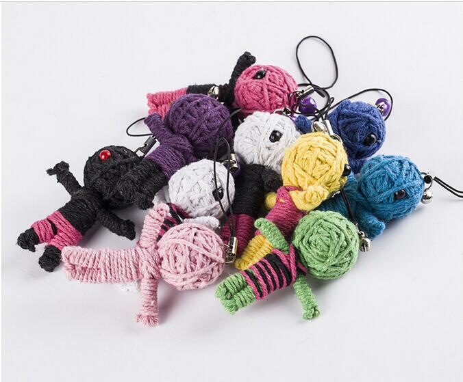 4pcs Wholesale New Style Voodoo Doll Keychains Little Voodoo Dolls Accessories