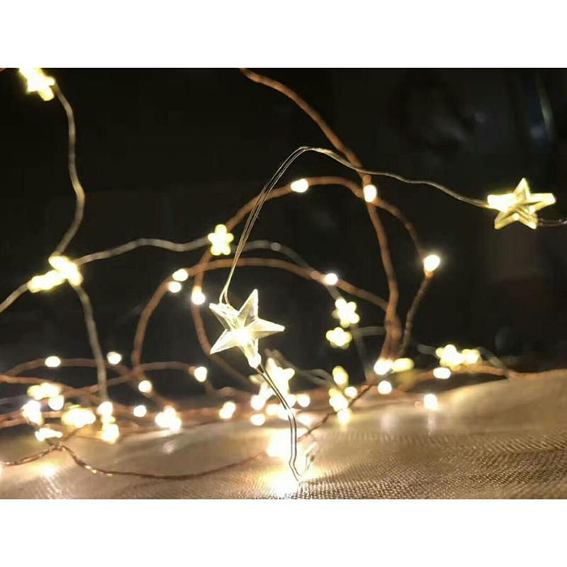 YUNLIGHTS 1pcs LED String Light Battery Powered USB Light Waterproof Decorative Star Fairy Lights For Wedding Valentines