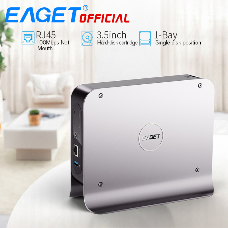 EAGET 3.inch 1 BAY Smart Network Cloud Storage Mobile Hard Disk Box SATA USB3.0 Encryption Private Cloud Disk Network hard Y300