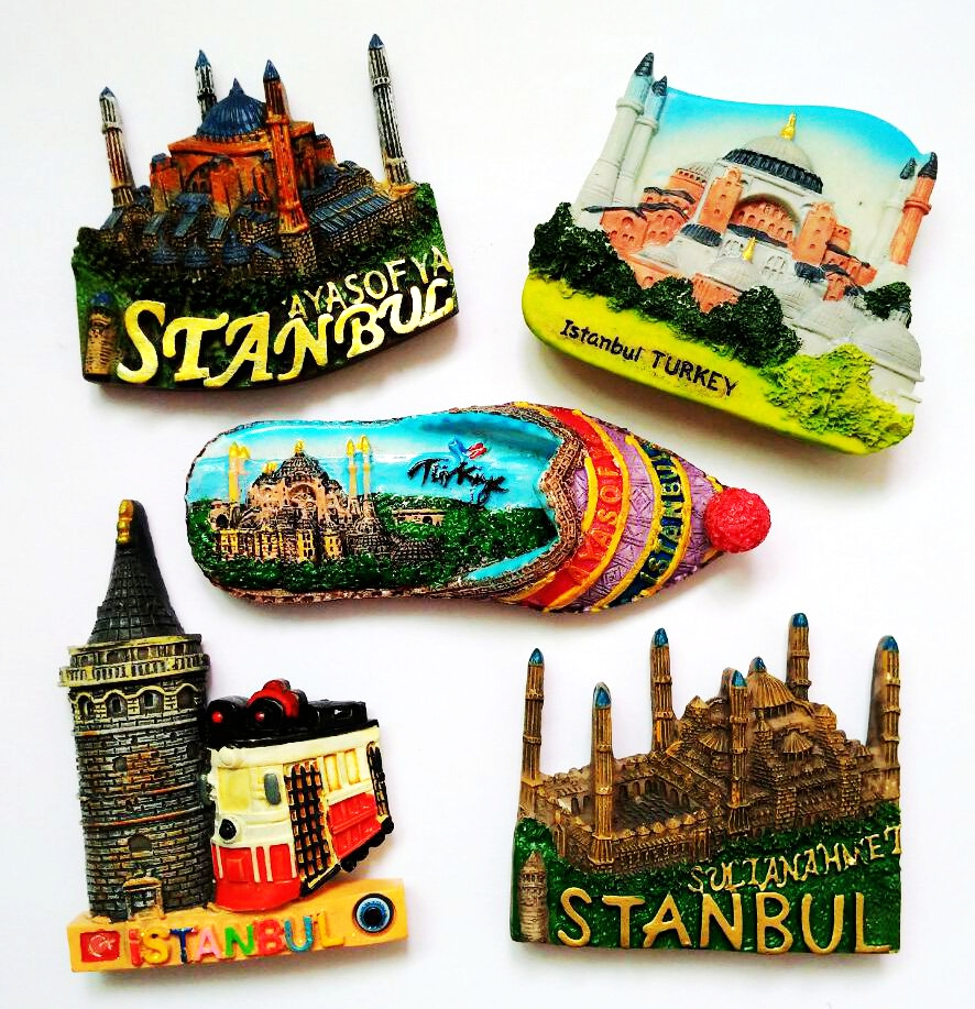 <font><b>Istanbul</b></font> Turkey Mosque 3D High-end Hand-made Painted Shoes Fridge Magnets Travel Souvenirs Gift Refrigerator Magnetic Sticker image