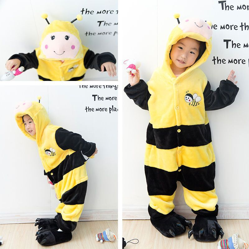 kids Kigurumi Winter Pajamas children Unisex Animal Bee Onesie Sleepsuit Cosplay Girls Sleepwear Pyjamas Clothes free shipping