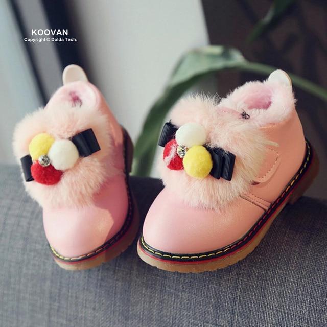 Koovan Baby's Boots 2017 Winter Children's Snow Boots Kids Shoes Female Baby Soft Bottom Toddler Girls Shoes Warm Fur Rhinestone