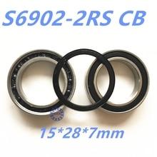 2pcs rubber sealed 440 stainless steel hybrid ceramic ball bearings S6902 6902 2RS 15*28*7mm Si3N4 bike part