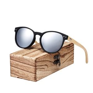 Image 4 - BARCUR Vintage Round Sunglasses Bamboo Temples Polarized Wood Sun glasses Men Women Shades oculos