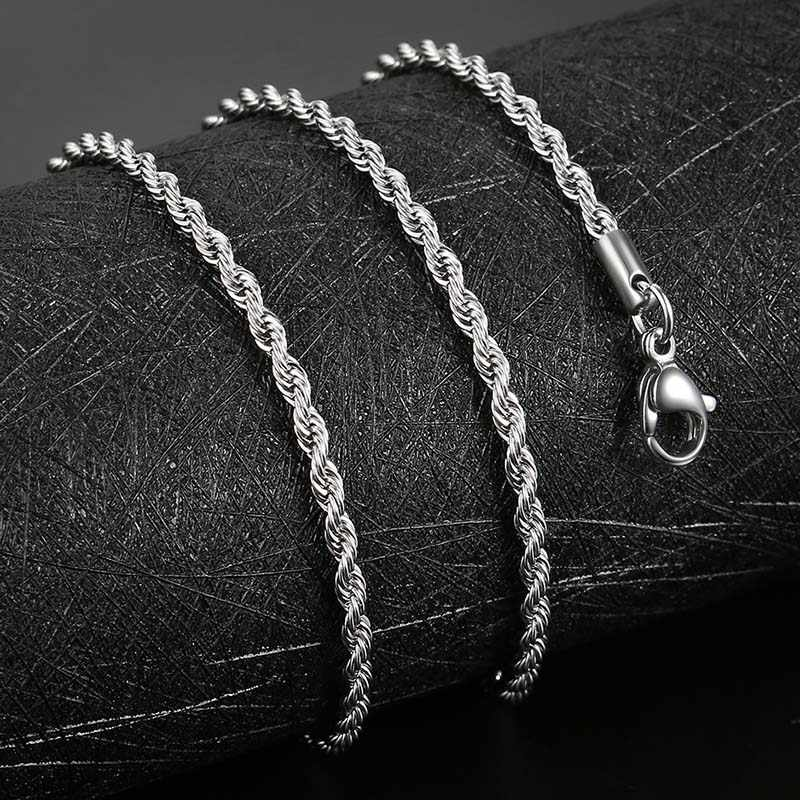 AZIZ BEKKAOUI Fashion Twist Chain Stainless Steel Necklace Men and Women Silver Color Basic Chain Necklace Hot Sale