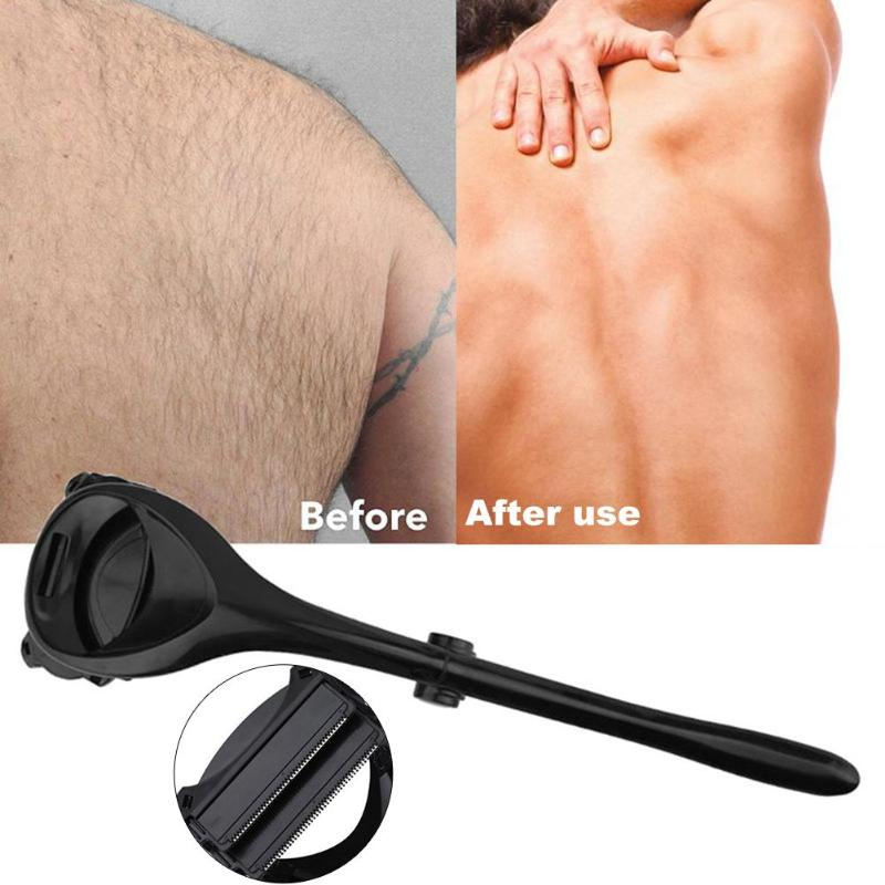 New Long Handle Two Head Blade Back Hair Shaver Men Body Back Leg Hair Removal Trimmer Shaver Folding Long Back Shaver