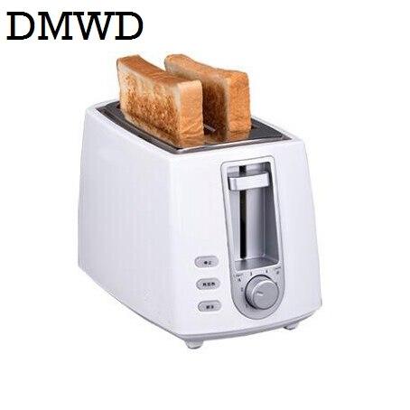 DWMD электрический тостер из нержавеющей стали Бытовая Автоматическая хлебопечка машина для завтрака тост Сэндвич Гриль духовка 2 ломтика - Цвет: white no smile