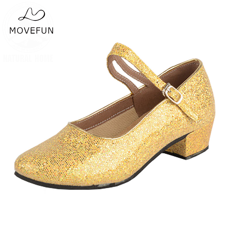 MoveFun Märke Barn Tjejfina Glitter Latin Dansskor Balsal Tango Salsa Dans Sneakers Sociala Dansskor Skor-59