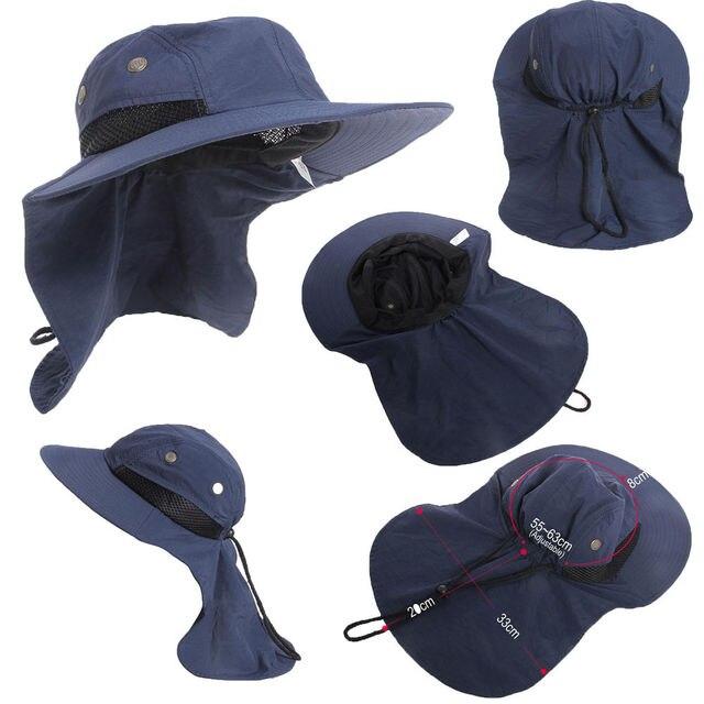 3331e620 Fashion Outdoor Sun Hat Neck Flap Boonie Hat Fishing Hiking Safari Sun Brim  Bucket Bush Cap