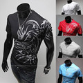 2015 New Brand European Style Dragon prints Plus 3XL Fashion Mens T shirts Slim fit O-neck Short sleeve Casual Cotton Tops Tees