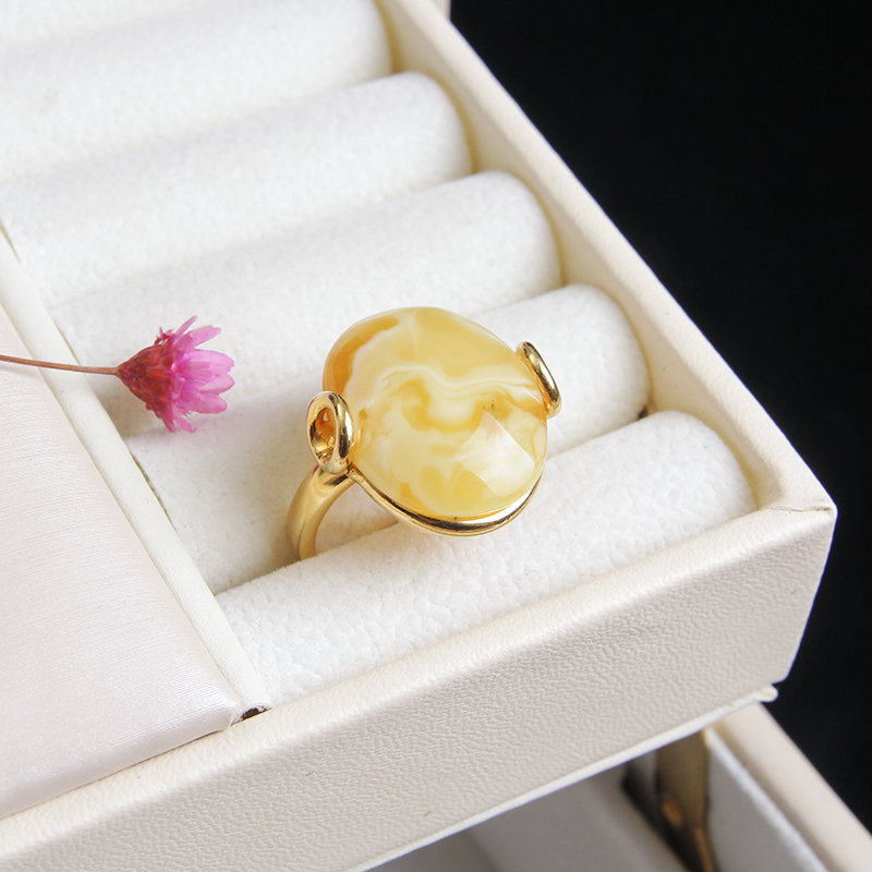 JIUDUO New Arrival Yellow Oval Natural Stone Party Ring for Women Unique Fashion Female's Gold Ring factory direct special pack women fashion silicone ring 7pcs pack