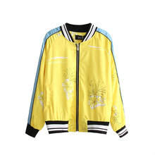 2016 Fashion tiger Embroidery Pattern poplin bomber Jacket New Women's satin yelllow baseball Jacket Coat Pilots Outerwear Tops