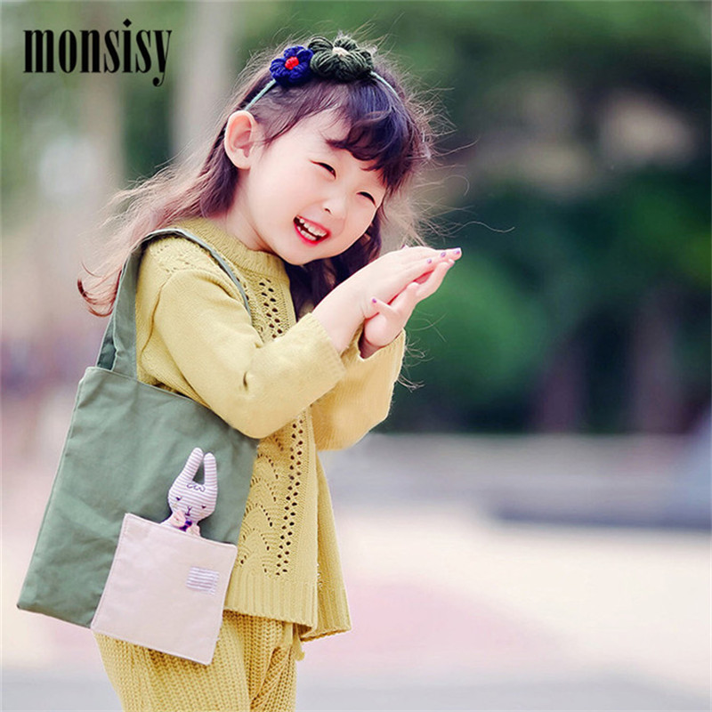 Monsisy Girl Shopping Bag Childrens Tote Kawaii Cotton School Books Travel Handbag 3D Rabbit Toy Kid Portable Shopping Bag Gift ...