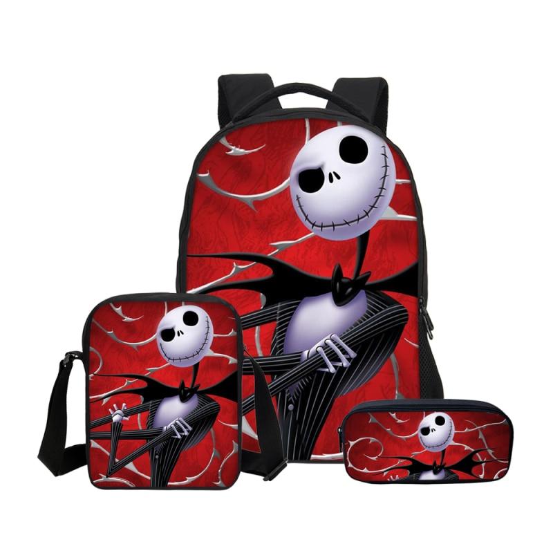 3Pc Set Nightmare Before Christmas Child Student Backpack Brand Cartoon Print School Bookbag Design Anime Customize