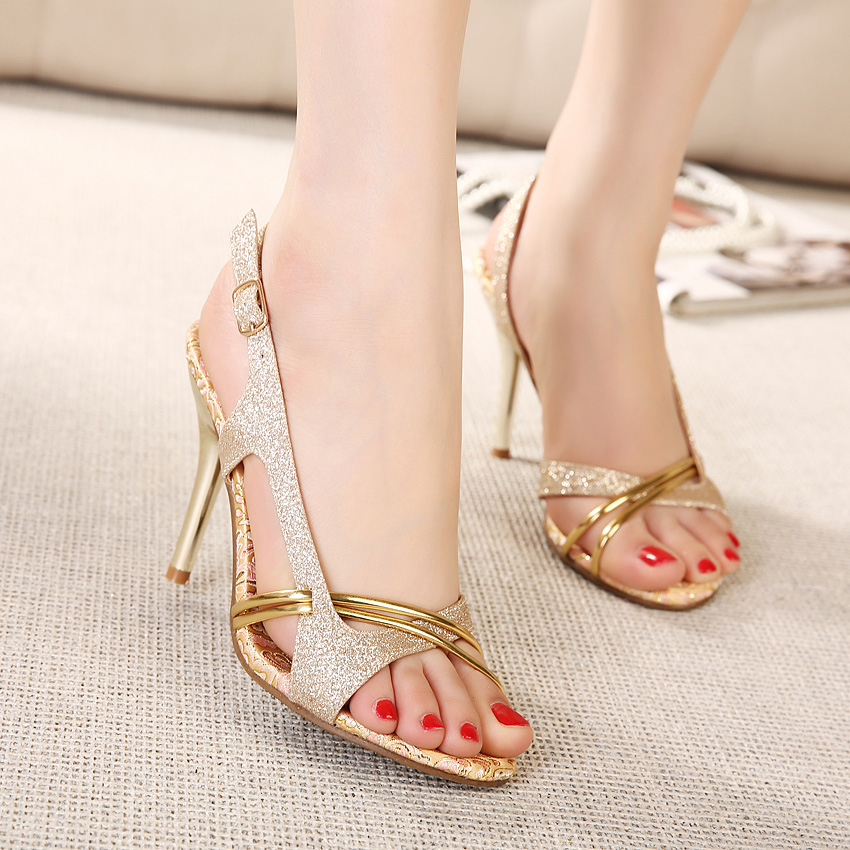 hot gladiator sexy high heels cutout golden high heeled summer elegant women s  open toe shoes sandals for wedding  dcde371ab