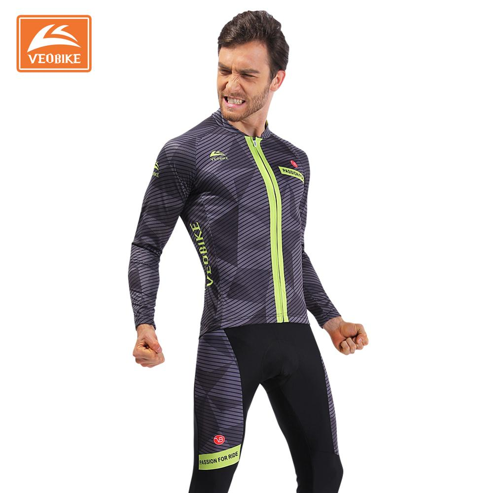 VEOBIKE Men's Pro Cycling Jersey Long Sleeve Maillot Ropa Ciclismo Quick Dry Bicycle Clothing MTB Bike Sports Wear Top Quality veobike 2017 pro men cycling jersey set breathable mtb clothes quick dry bicycle summer sportswear bike jerseys ropa ciclismo